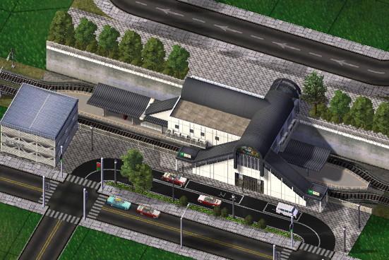 島式ホームの鉄道駅 / Train sta...